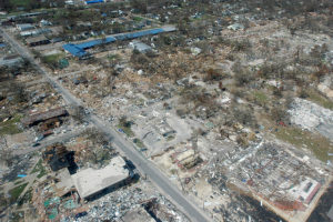 The aftermath of Hurricane Katrina in Gulfport, Mississippi.