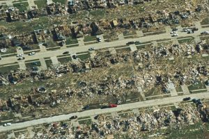 Damage in Oklahoma City after the Bridge-Creek Moore Tornado 1999.