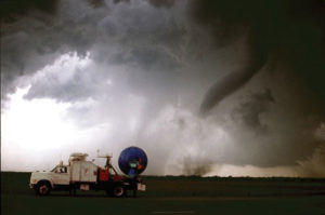 A Doppler on Wheels unit observing a tornado near Attica, Kansas.
